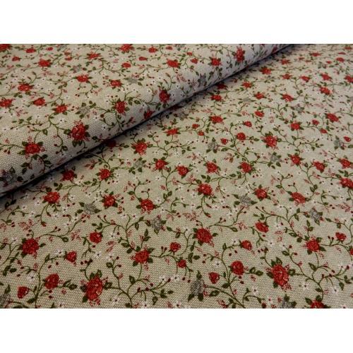 Dekorační režná látka Růžičky drobné I červená