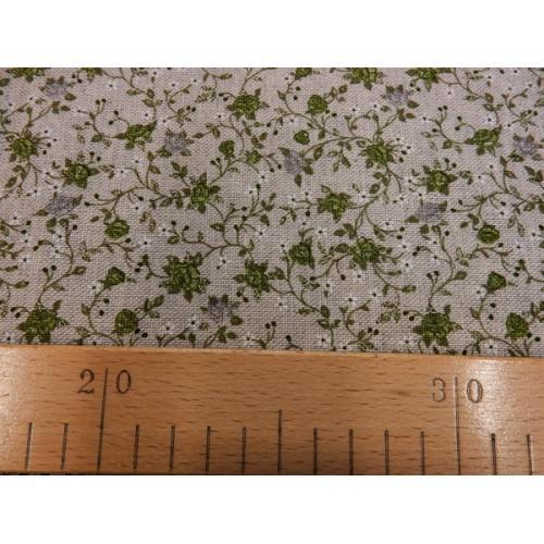 Dekorační režná látka Růžičky drobné II zelená