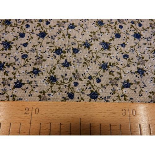 Dekorační režná látka Růžičky drobné III modrá