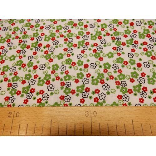 Dekorační bavlněná látka Kytičky drobné zelené a červené