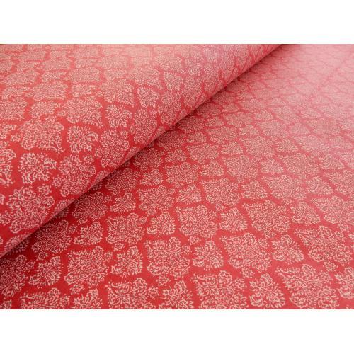 Dekorační bavlněná látka ORNAMENT červený