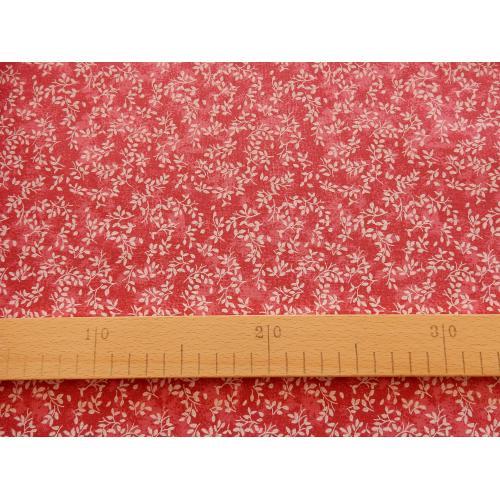 Dekorační bavlněná látka větvičky červené