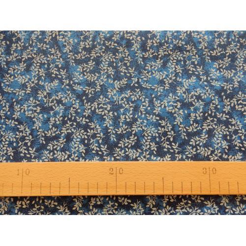 Dekorační bavlněná látka větvičky modré