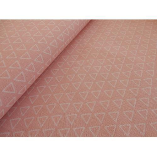 Dekorační bavlněná látka trojúhelníky růžové