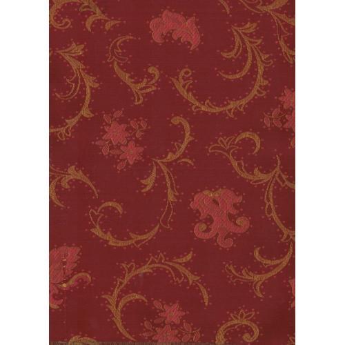 Čalounická potahová látka se zámeckým vzorem TREVA 2110/330 červeno-vínová