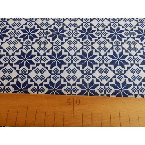 Dekorační bavlněná látka ORNAMENT norský modrý