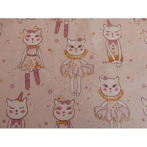Dekorační bavlněná látka s dětským vzorem Kočičky