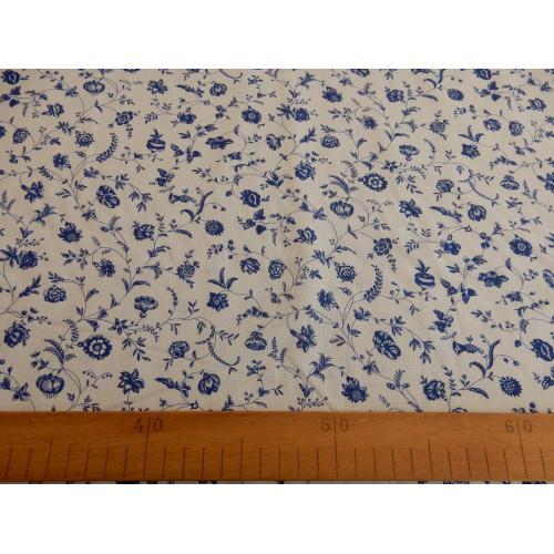 Dekorační bavlněná látka kytičky modro-bílé