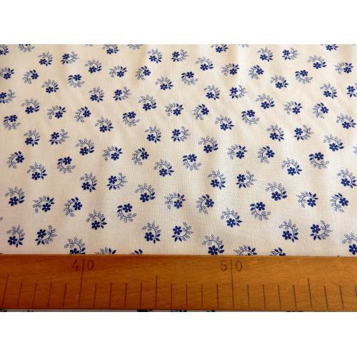 Dekorační bavlněná látka kytičky modro-bílé IV