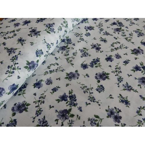 Dekorační závěsová látka s kytičkami modrá BOZEN