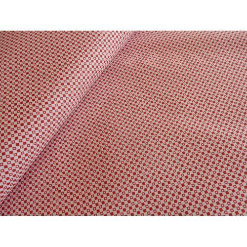 Dekorační bavlněná látka ORNAMENT červený drobný
