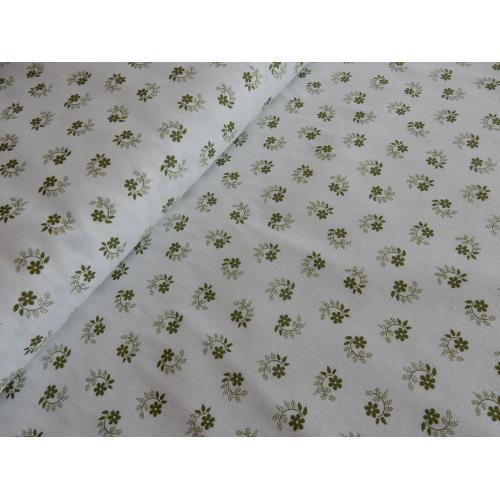 Dekorační bavlněná látka kytičky zelené