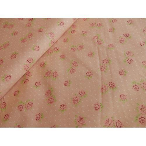 Dekorační bavlněná látka Růžičky růžové
