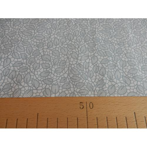Dekorační bavlněná látka lístky šedé