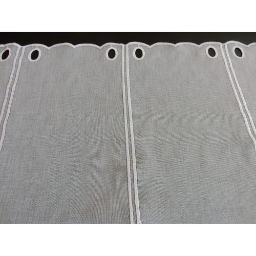 Krátká vitrážová záclona na tyčku 90cm BATIST V612 bílá
