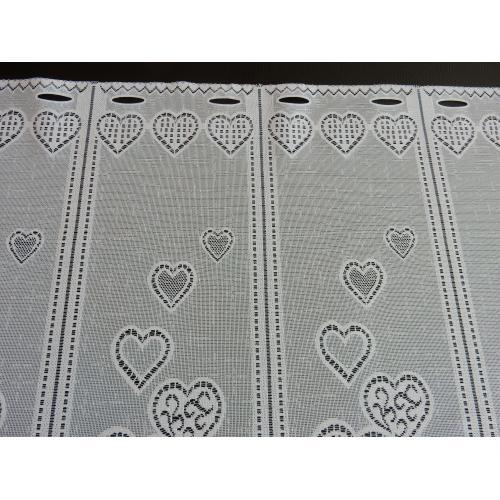 Krátká vitrážová záclona 65cm Srdíčka