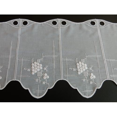 Krátká vitrážová záclona 30cm 13077 Hroznové víno bílá