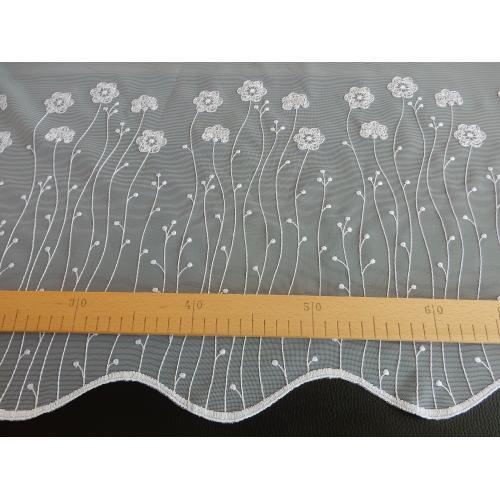 Krátká vitrážová záclona 90cm Kytičky bílá