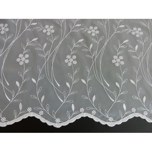 Vyšívaná záclona s bordurou 11443/145 bílá