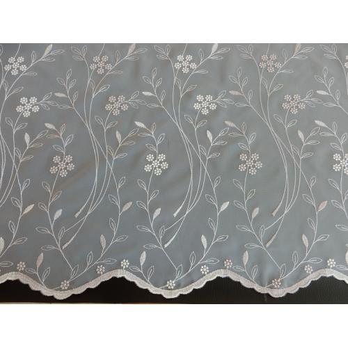 Vyšívaná záclona s bordurou 11443/145 kouřová