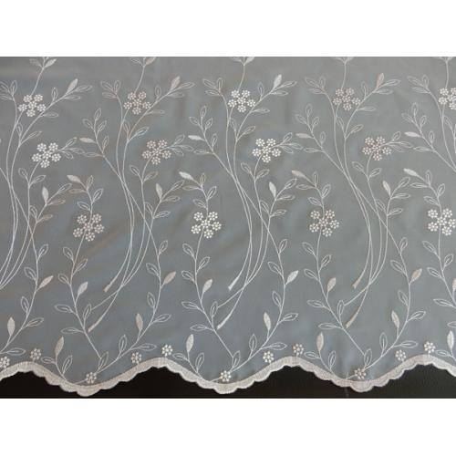 Vyšívaná záclona s bordurou 11443/290 kouřová