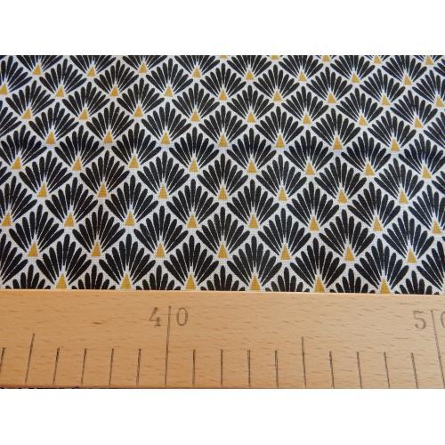 Dekorační bavlněná látka ORNAMENT černo-zlatý