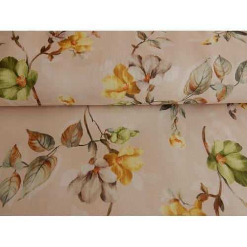 Dekorační látka OXFORD květy zeleno-žlutá