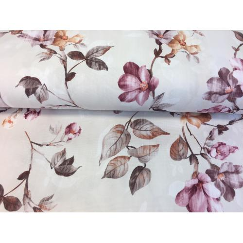 Dekorační látka OXFORD květy staro-růžová