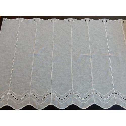 Krátká vitrážová záclona na tyčku 80cm BATIST V052 béžová