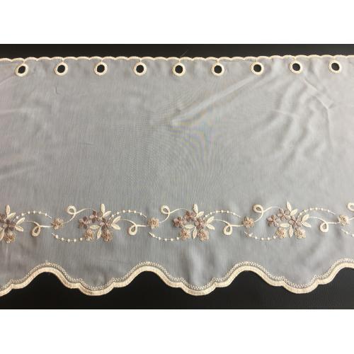 Krátká vitrážová záclona na tyčku 45cm BATIST vyšívaná kytička