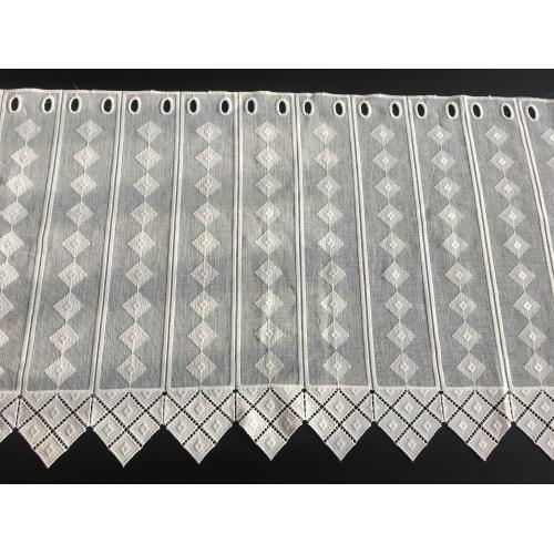 Krátká vitrážová záclona na tyčku 45cm BATIST kosočtverce