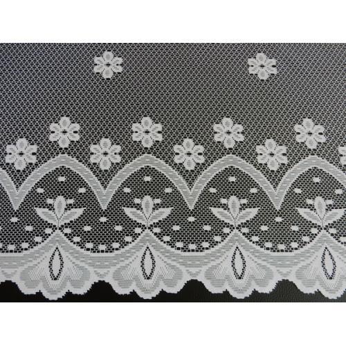 Žakárová záclona s bordurou Kytičky 4421/180 bílá