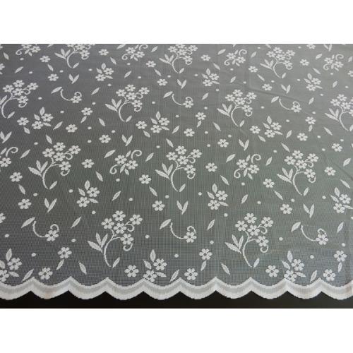 Žakárová záclona s bordurou Kytičky 4437/170 bílá