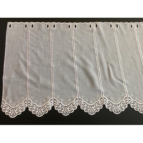 Krátká vitrážová záclona na tyčku 45cm BATIST V507 bílá
