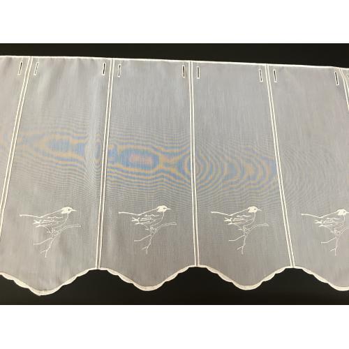 Krátká bílá vitrážová záclona 45cm Ptáček
