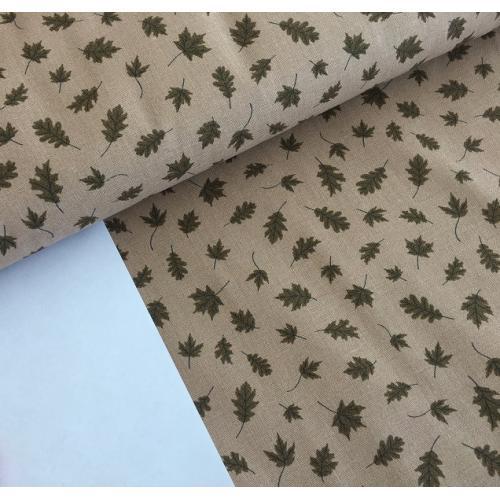 Dekorační bavlněná látka kytičky hnědé listy