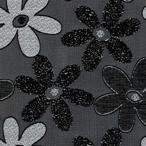 Potahová žinylka s kytkama NELLY 07-01 černá