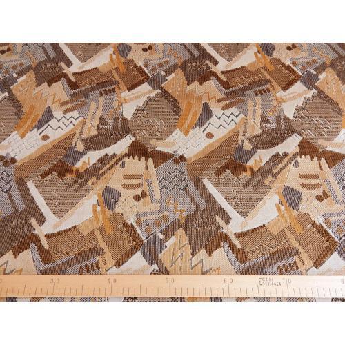 Tkaný plyš geometrický vzor hnědý TITUS 2033/172