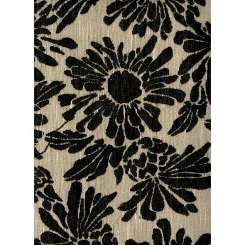 Žinylková potahová látka květinová VENDY černo-bílá